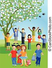Kinder im Sommer.eps - Children are happy in summer