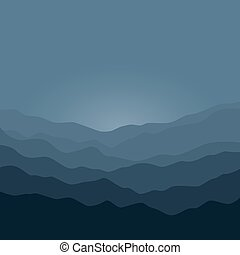 Silhouette of the Mountains Before Sunrise - Mountain...