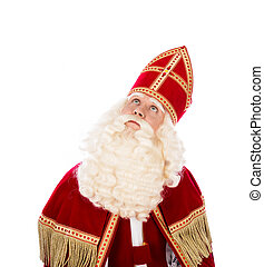 Sinterklaas looking up on white background - Sinterklaas...