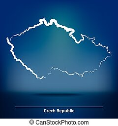 Doodle Map of Czech Republic - vector illustration