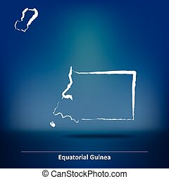 Doodle Map of Equatorial Guinea - vector illustration