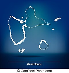 Doodle Map of Guadeloupe - vector illustration