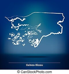 Doodle Map of Guinea-Bissau - vector illustration