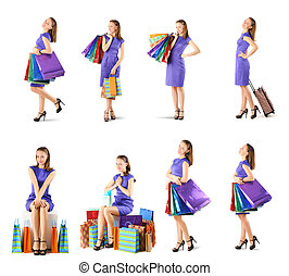 Woman with shopping bags set isolated on white