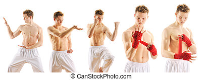 Man training taekwondo set Isolated on white background