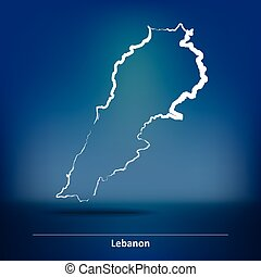 Doodle Map of Lebanon - vector illustration