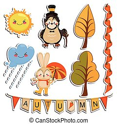 Vector set of cartoon drawings, funny animals, autumn forest...