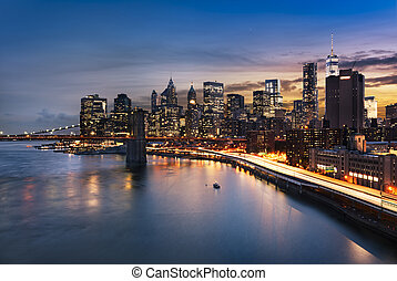 New York City lights - New York City - beautiful sunrise...