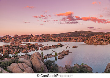 Watson lake Sunset - a colorful sunset over watson lake...