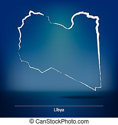 Doodle Map of Libya - vector illustration