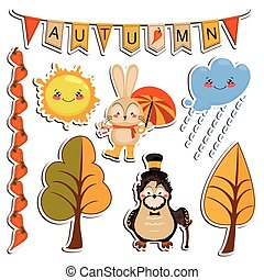 Vector set of cartoon drawings, funny animals, autumn...