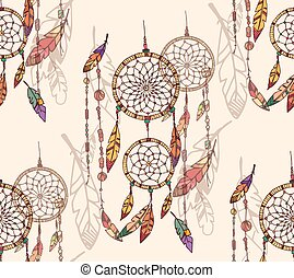 Bohemian dream catcher with beads and feathers, seamless...