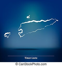 Doodle Map of Timor-Leste - vector illustration
