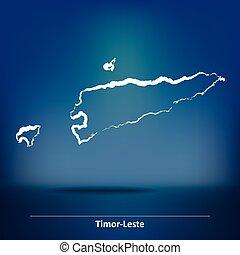 Doodle Map of Timor-Leste - vector illustration