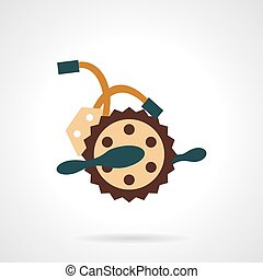 Flat color bike crankset vector icon. - Electric bike...