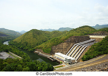 The power station at the Srinakarin Dam in Thailand