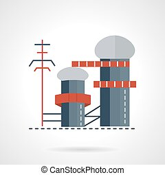 Biomass power plant flat vector icon - Biomass or multi-fuel...