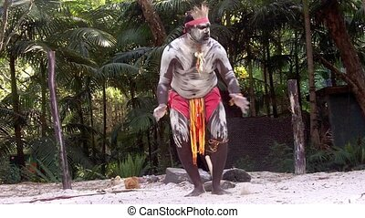 Aboriginal warrior man dance - Yugambeh Aboriginal warrior...