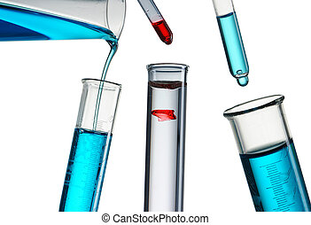 Reagent pouring - Pouring reagent into test tube