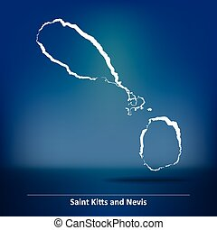 Doodle Map of Saint Kitts and Nevis - vector illustration