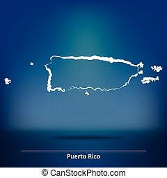 Doodle Map of Puerto Rico - vector illustration