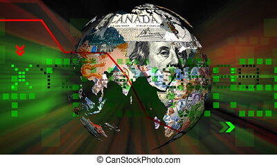 Globe Currencies Spinning on Background Loopable