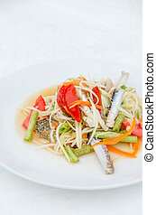 som tum poo ma - spicy papaya salad with blue crab, som tum...