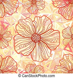 Ornate orange flowers on abstract triangles seamless pattern