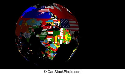 Globe Flags Spinning LtoR Includes Matte & Fill - Globe...