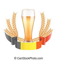 Brewery Label with light beer glass and ribbon - Brewery...