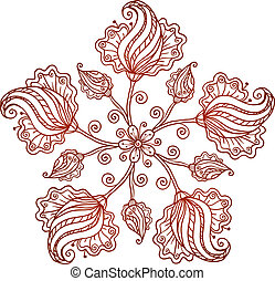 Ornate vintage isolated doodle vector flowers