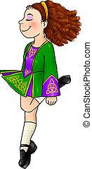Irish dancing girl in traditional hard shoes - Irish dancing...