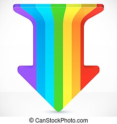 Rainbow stripes realistic plastic vector up arrow icon