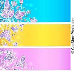 Colorful blue, yellow and violet flowers banners - Colorful...