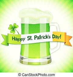 Patrick's Day card with pint of green beer