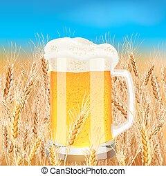 Light beer mug on sunny summer field