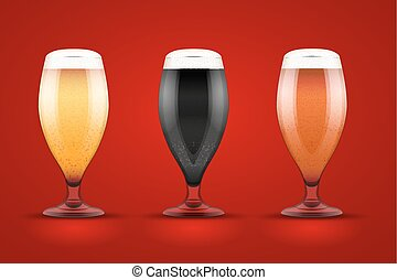 Beer glass with three brands - Beer glass with three kind of...