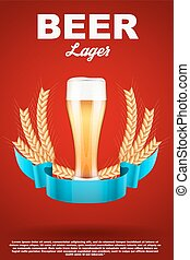 Brewery Label with light beer glass and malt - Brewery Label...