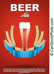 Brewery Label with red beer glass and malt - Brewery Label...