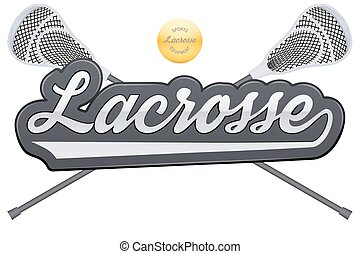 Lacrosse tag with ball and sticks Symbol of sports Vector...