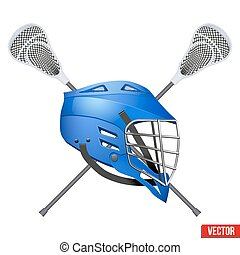 Lacrosse helmet and sticks. Symbol of sports. Vector...