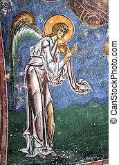 Frescoe of Archiangel Gabriel, church Saint George, village...