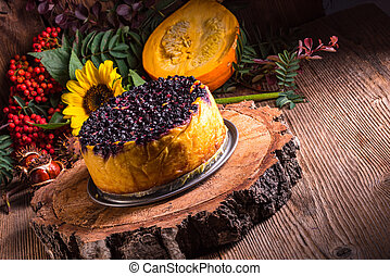 Autumn pumpkin cheesecake with cran - autumn; dessert;...