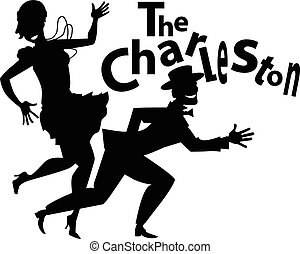 The Charleston - Black vector silhouette of a couple dancing...