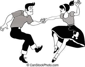 Classic Rock and Roll - Young couple dancing rock and roll...