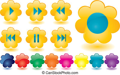 Music buttons as yellow flowers
