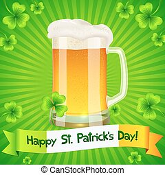 Patrick's Day card with pint of light beer