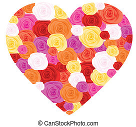 Heart from roses - Heart made from roses, vector...