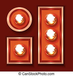Marquee lights close-up vector illustration on dark red...