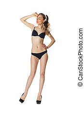 Full length portrait of a beautiful young model in black...